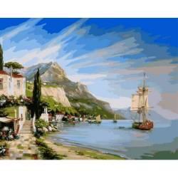Итальянская бухта, цветной холст
