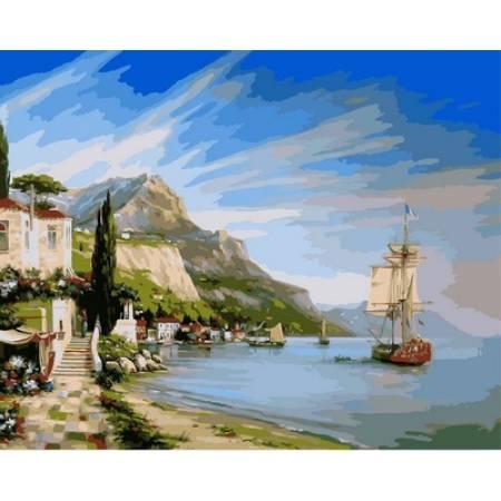 Картина по номерам Итальянская бухта,, цветной холст NB851, Babylon Premium
