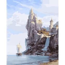 Скалистые берега, цветной холст