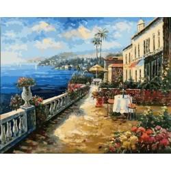 Кафе с видом на море, цветной холст