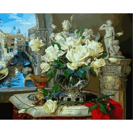 Картина по номерам «Венецианские розы Babylon Premium (цветной холст)», модель NB866