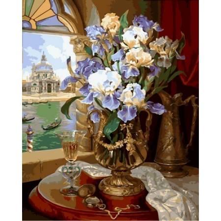 Картина по номерам «Венецианские ирисы Babylon Premium (цветной холст)», модель NB867