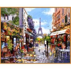 Цветущий Париж, цветной холст