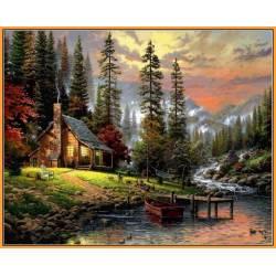 Охотничьей домик, цветной холст