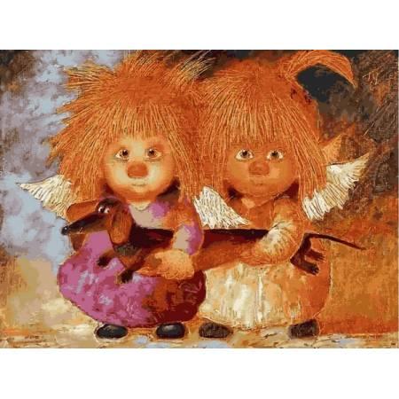 Картина по номерам Солнечные ангелы с таксой VK235, Babylon