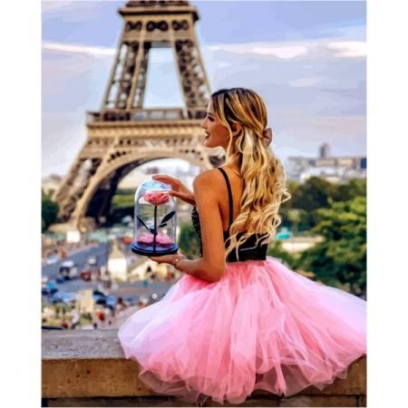 Картина по номерам С цветком в Париже VP1235, Babylon