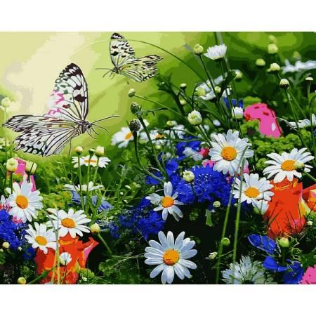 Картина по номерам Цветочное поле и бабочки VP1254, Babylon