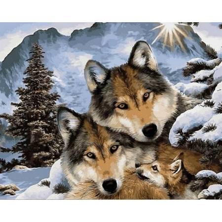 Картина по номерам Семейство волков VPS1023, Babylon