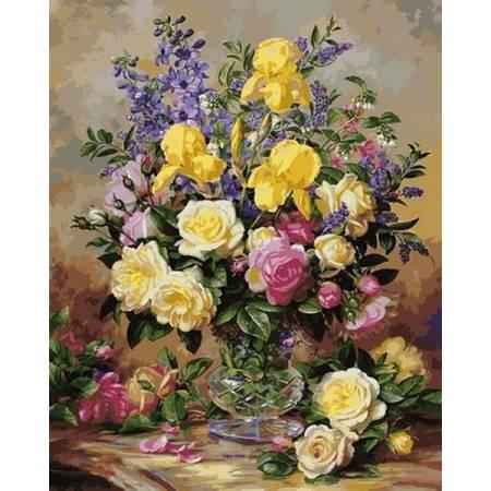 Картина по номерам Желтые ирисы и розы VPS1051, Babylon
