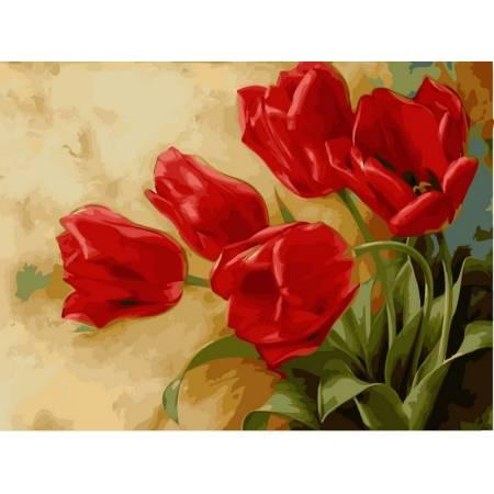 Картина по номерам Красные тюльпаны VK015, Babylon