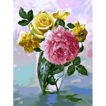 Картина по номерам Нежный букет в стеклянной вазе VK018, Babylon