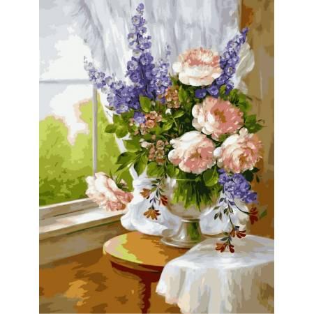 Картина по номерам «Нежный букет в вазе», модель VK023