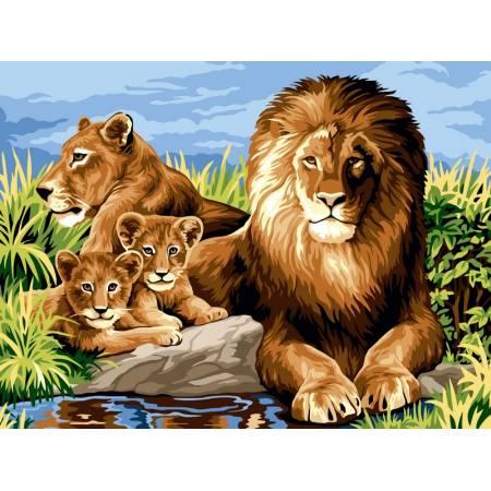 Картина по номерам «Львиное семейство», модель VK101