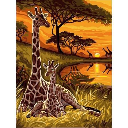 Картина по номерам «Жирафы», модель VK128