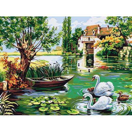 Картина по номерам Семейство лебедей VK130, Babylon