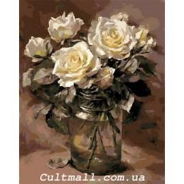 Белые розы в банке
