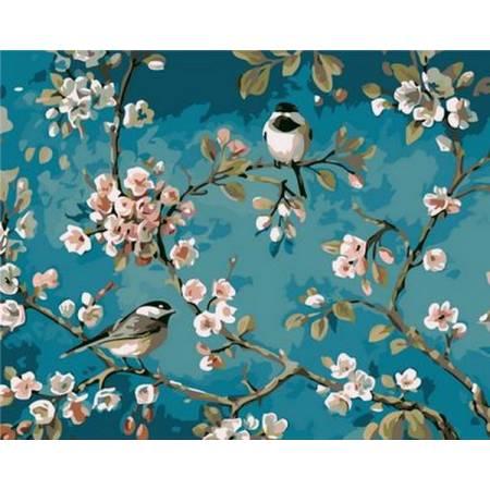 Картина по номерам Синички на яблоне Q1083, Mariposa