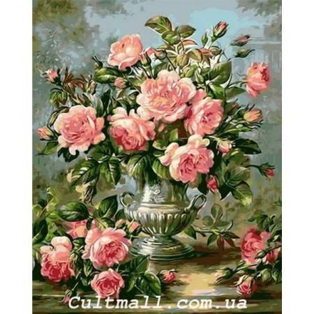 Картина по номерам «Розы в серебряной вазе», модель Q1117