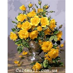 Желтые розы в серебряной вазе