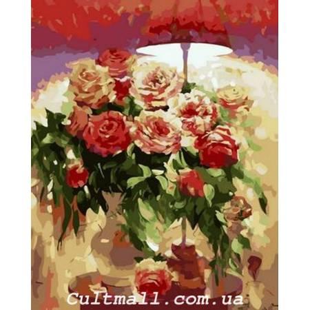 Картина по номерам Букет под красным абажуром Q1239, Mariposa