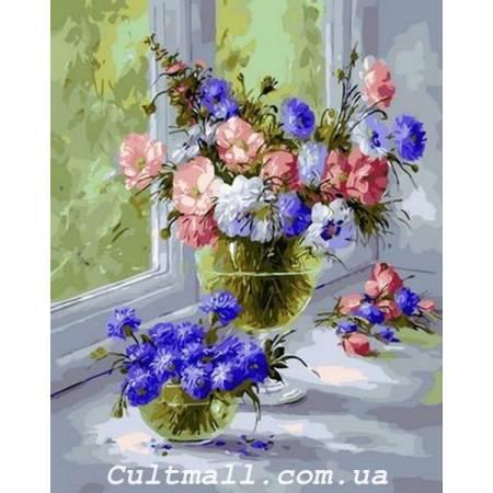 Картина по номерам «Нежные васильки», модель Q1361