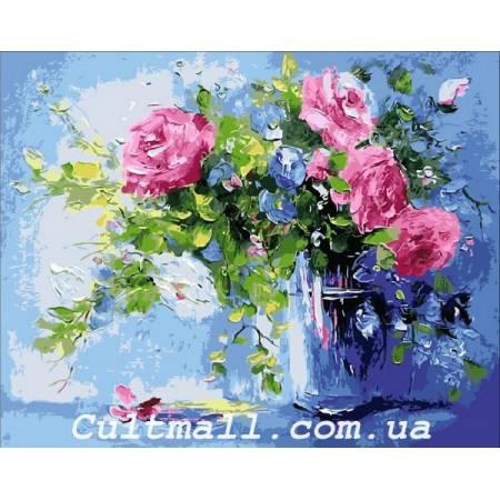 Картина по номерам «Небесно - розовый букет», модель Q1440