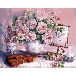 Розовый букет и скрипка