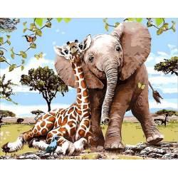 Слоненок и жираф