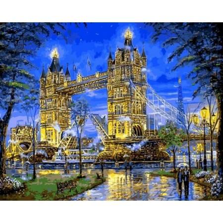 Картина по номерам «Тауэрский мост вечером», модель Q2171