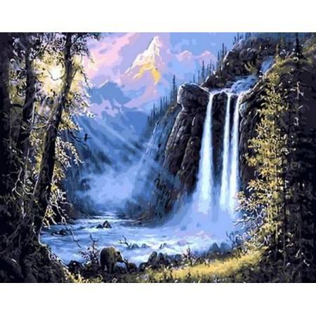 Картина по номерам «Горный водопад», модель Q493
