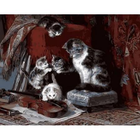 Картина по номерам Котята и скрипка Q608, Mariposa