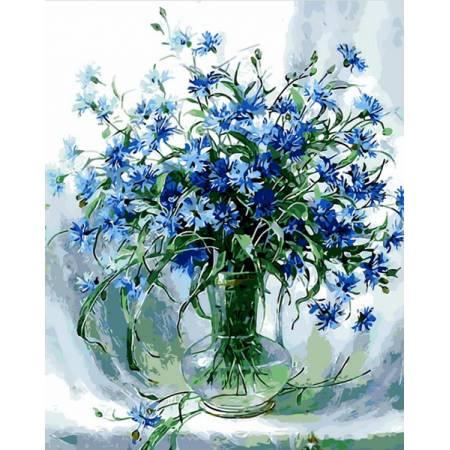 Картина по номерам «Васильки в стеклянной вазе», модель Q848