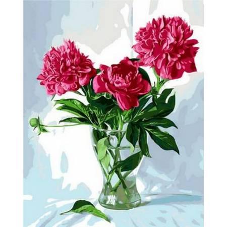 Картина по номерам «Стеклянная ваза с пионами», модель Q997