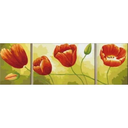 Картина по номерам «Красные тюльпаныТриптих», модель MV3005