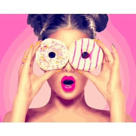 Картина по номерам Девушка с пончиком GX26710, Rainbow Art