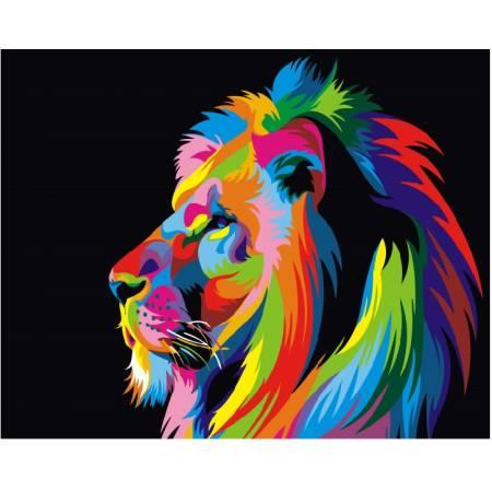 Картина по номерам Радужный лев 3 GX3973, Rainbow Art
