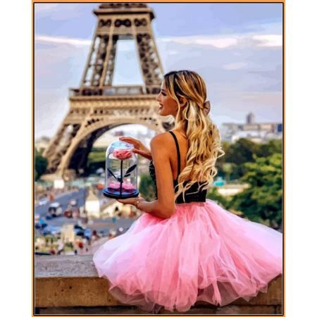 Картина по номерам С цветком в Париже - в раме, цветной холст NB1235R, Babylon Premium