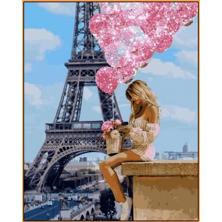 Картина по номерам Над Парижем - в раме, цветной холст NB1236R, Babylon Premium