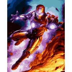 Железный человек в бою премиум, цветной холст