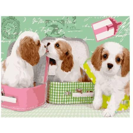 Картина по номерам Милые щеночки в чемоданах  GX25358, Rainbow Art