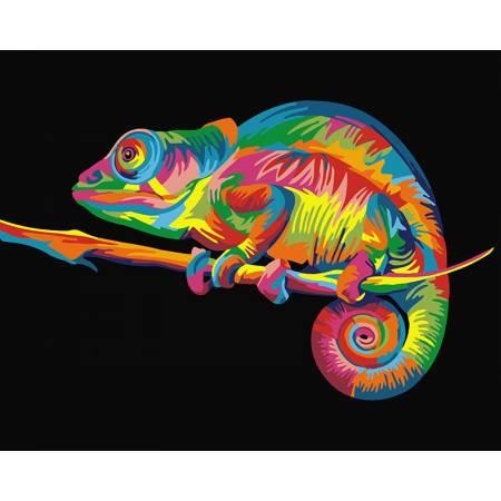 Картина по номерам Радужный хамелеон  GX26199, Rainbow Art
