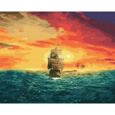 Картина по номерам Корабль на закате GX27893, Rainbow Art