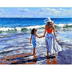 На прогулке с мамой, цветной холст