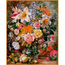 Букет из роз и лилий, цветной холст