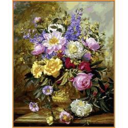 Букет белых и желтых роз, цветной холст
