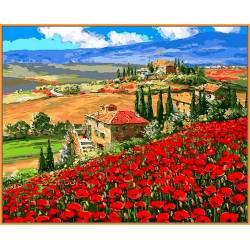 Тоскана Маковое поле, цветной холст