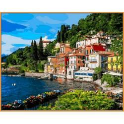 Италия Oзеро Комо, цветной холст