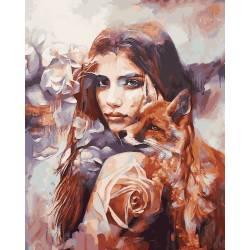 Девушка с лисой, цветной холст
