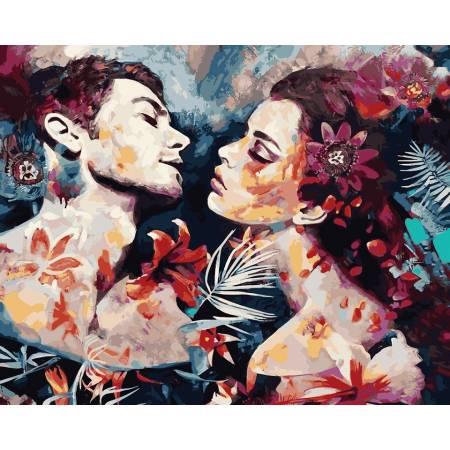 Картина по номерам Огненные чувства,, цветной холст NB982, Babylon Premium