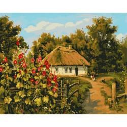 Сельской дом, цветной холст